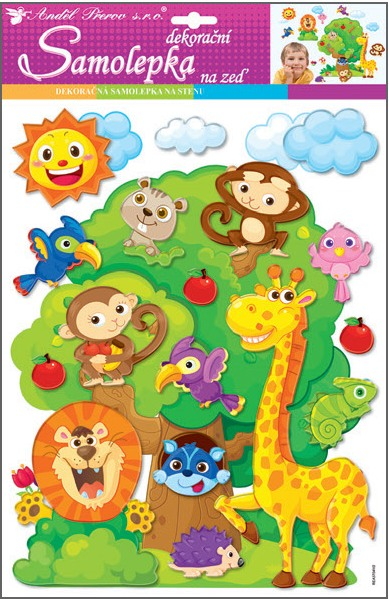 Samolepky na zeď strom se zvířátky plastické 10222 , 48x28 cm