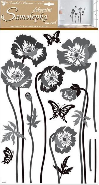 Samolepky na zeď černošedé květiny 10230 , 60x32 cm
