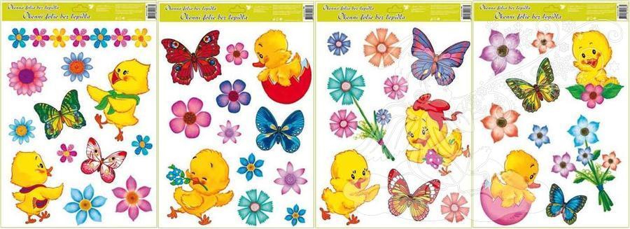 Okenní fólie kuřátka, květiny a motýlci 42x30cm 790 Typ: 4