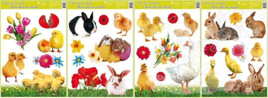 Okenní fólie velikonoční živá kuřátka 42x30cm 793 Typ: 1