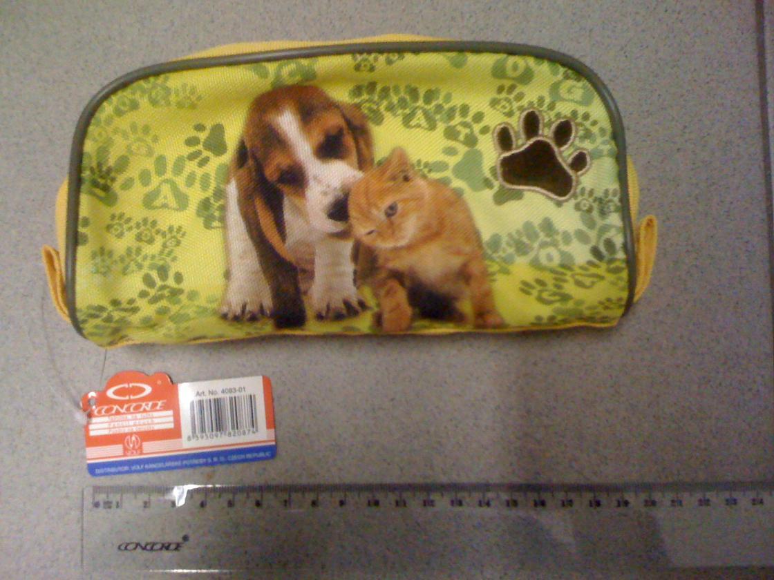 Penál 1 zip kočka, pes Barva: Zelená