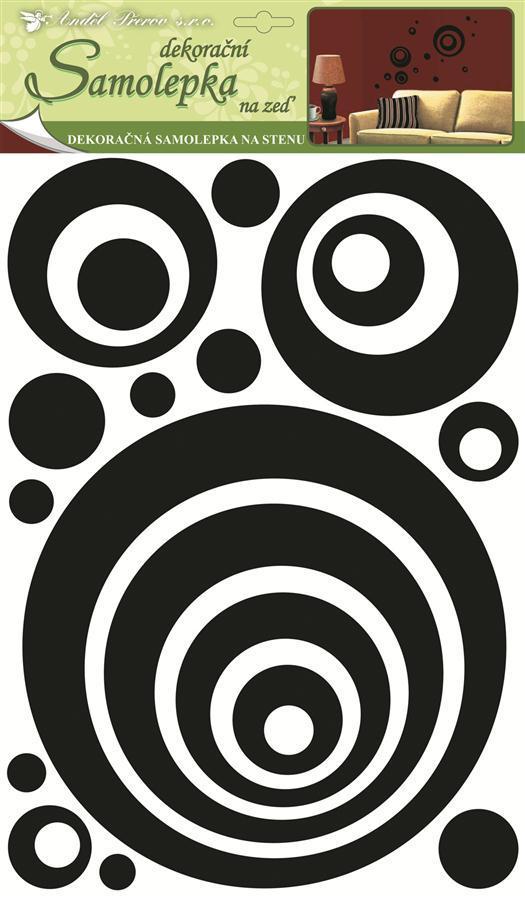 Samolepky na zeď kruhy 3D-EVA s černými gliltry 1345, 49,5x29x0,4cm
