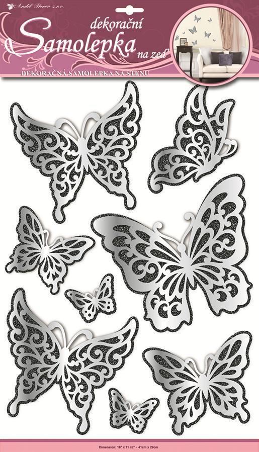 Samolepky na zeď motýli zrcadloví s černým glitrem 1388, 50x30cm