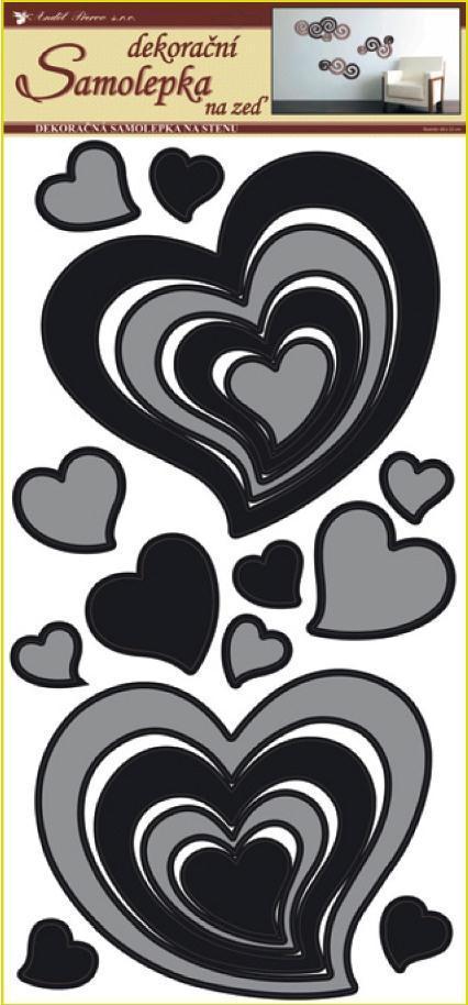 Samolepky na zeď srdce šedočerná 1340, 69x32 cm