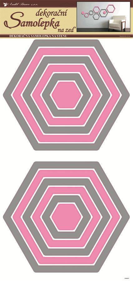 Samolepky na zeď šestiúhelníky šedorůžové 1337, 69x32cm