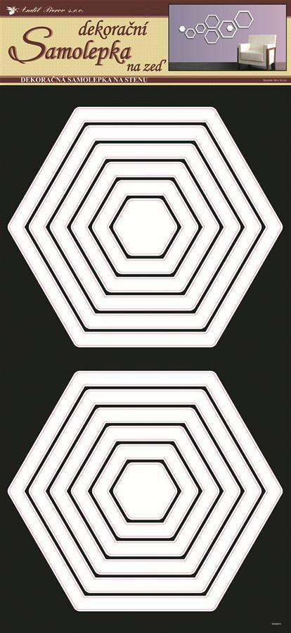 Samolepky na zeď šestúhelníky bílé 1333, 69x32 cm
