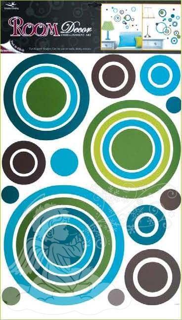 Samolepky na zeď kruhy modré 1058, 70x42cm