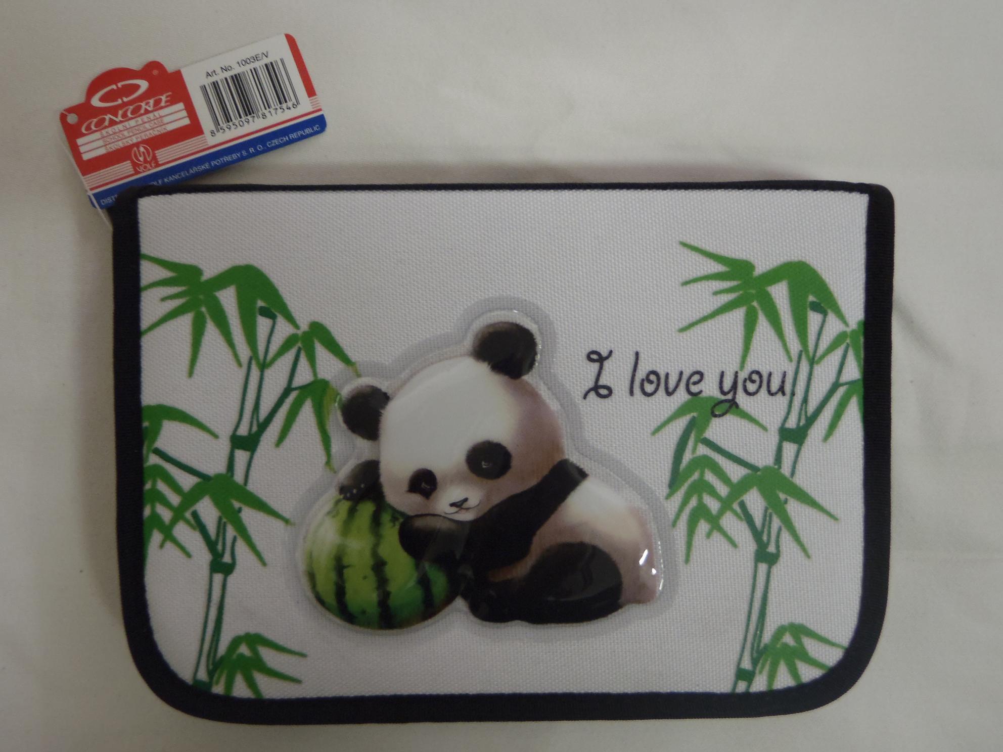Penál 1 patrový s chlopní Prase, Panda Typ: Panda