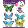 Samolepky na zeď motýli modrozelení s pohyblivými křídly 678, 30x30