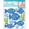 Samolepky na zeď voděodolné, modré ryby, 3 archy  10183 , 21 x 21 cm - 2 POSLEDNÍ KUSY -