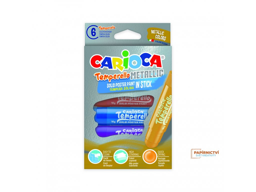 Tuhé tempery CARIOCA metallic 6ks