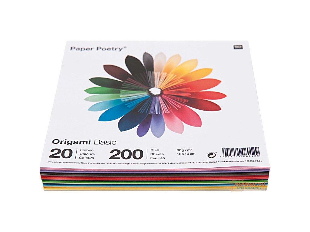 Origami basic, 10x10cm, mix200ks, 20 barev
