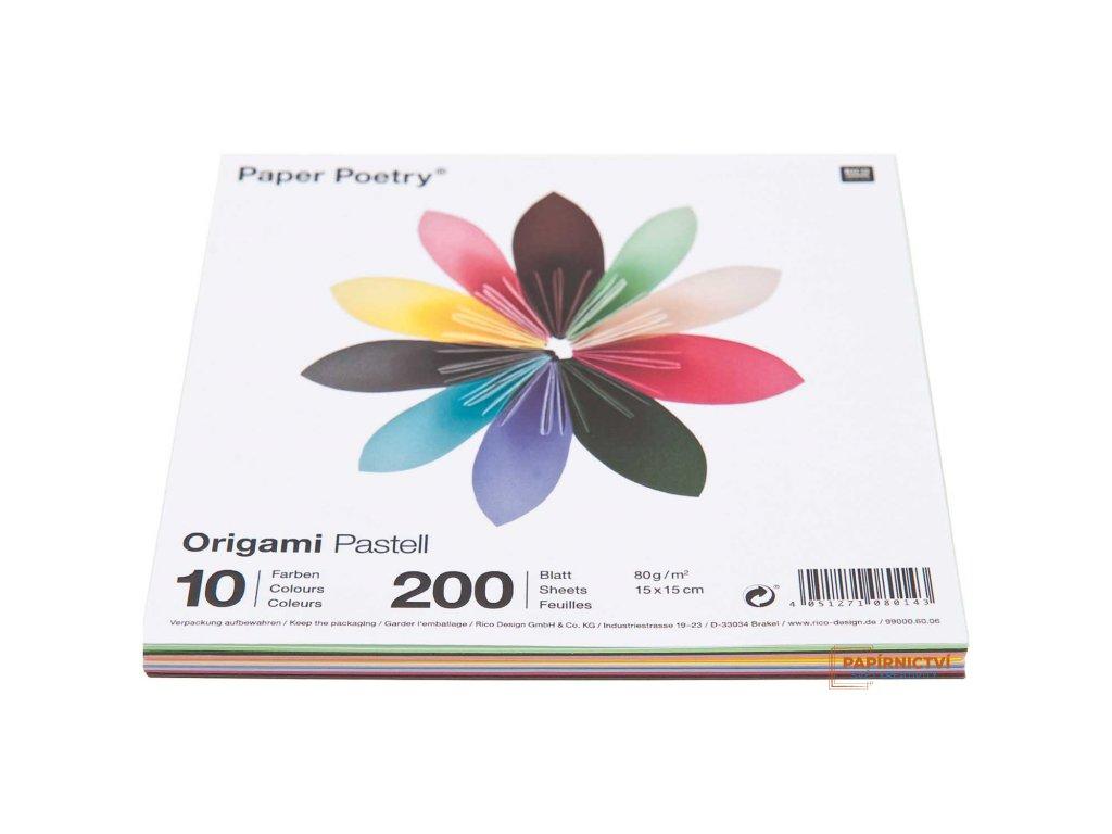 Origami pastel, 15x15cm, mix 200ks, 10 barev