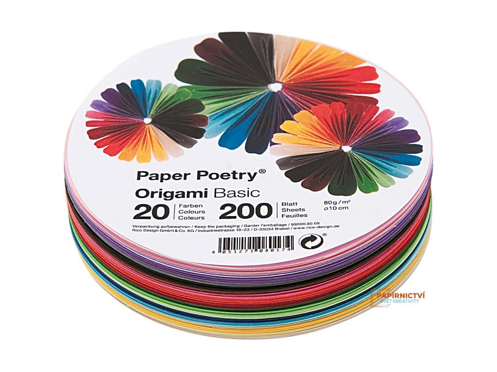 Origami basic, kruh 15cm, mix200ks,20 barev