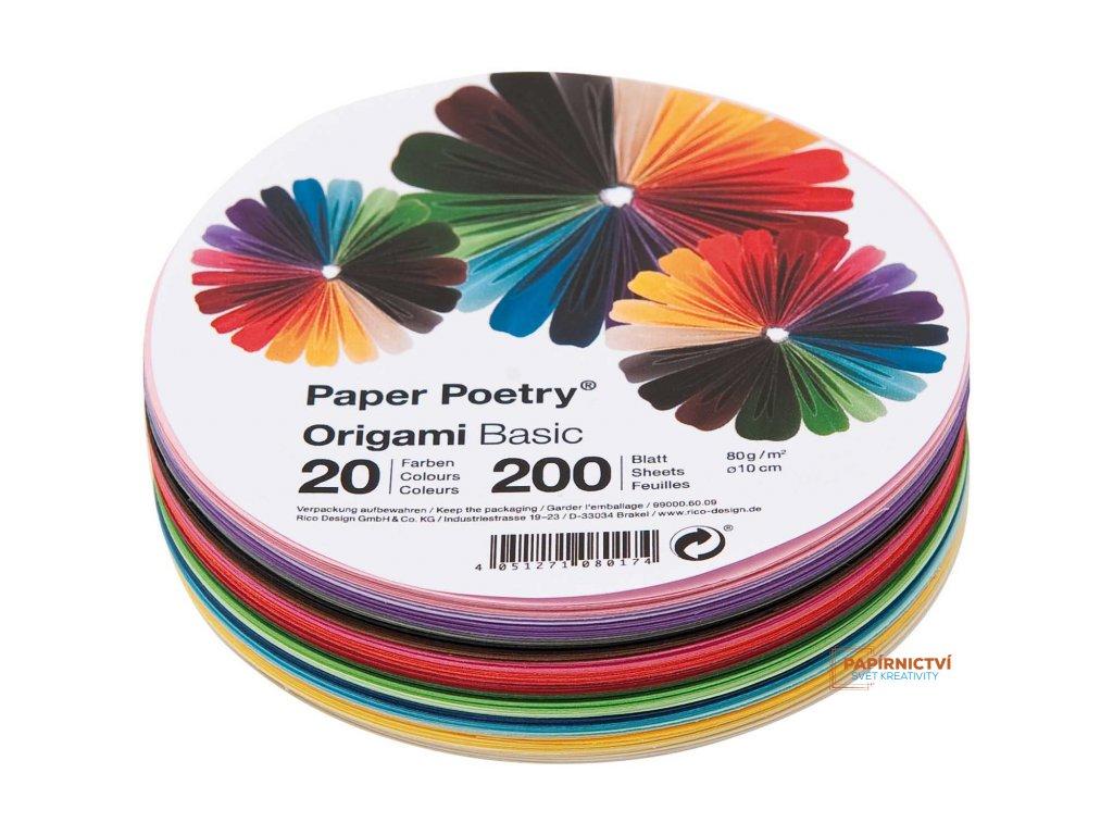 Origami basic, kruh 10cm, mix200ks,20 barev