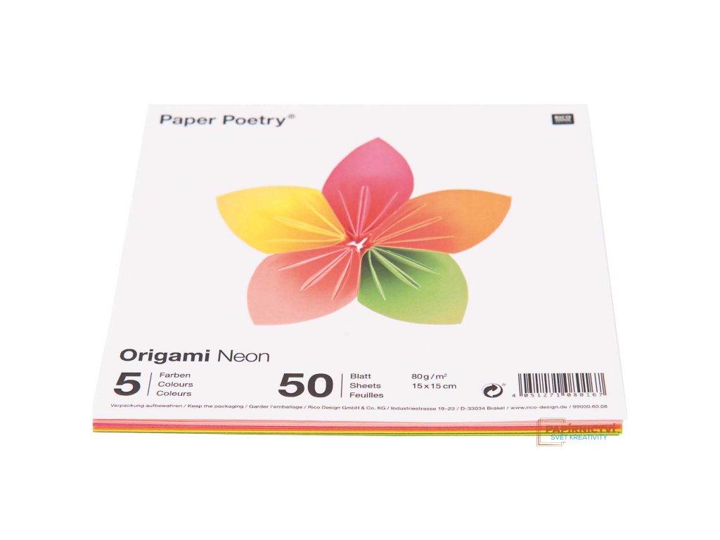 Origami neon, 15x15cm, mix 50ks, 5 barev