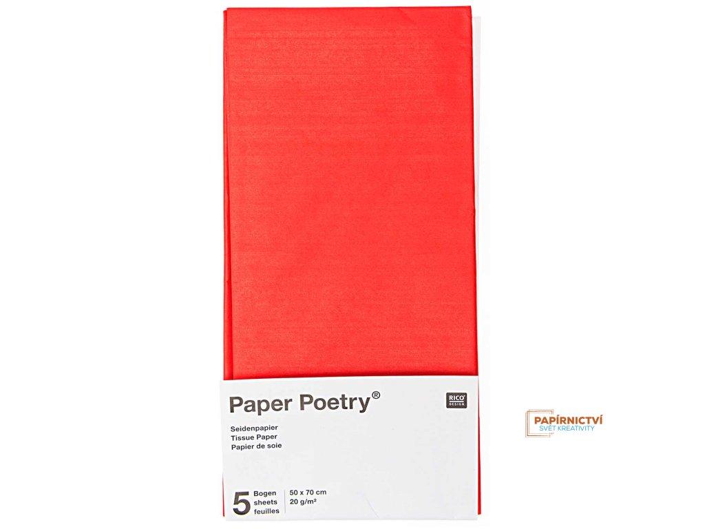 Hedvábný papír 50x70cm, 5ks, červený