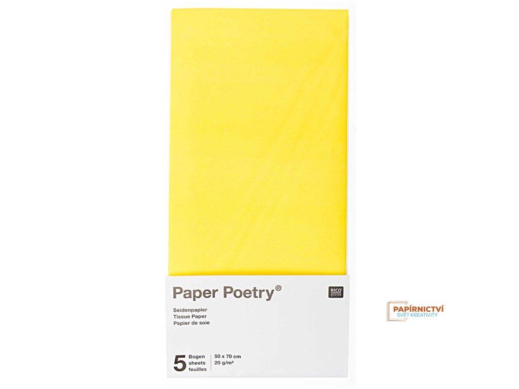 Hedvábný papír 50x70cm, 5ks, žlutý