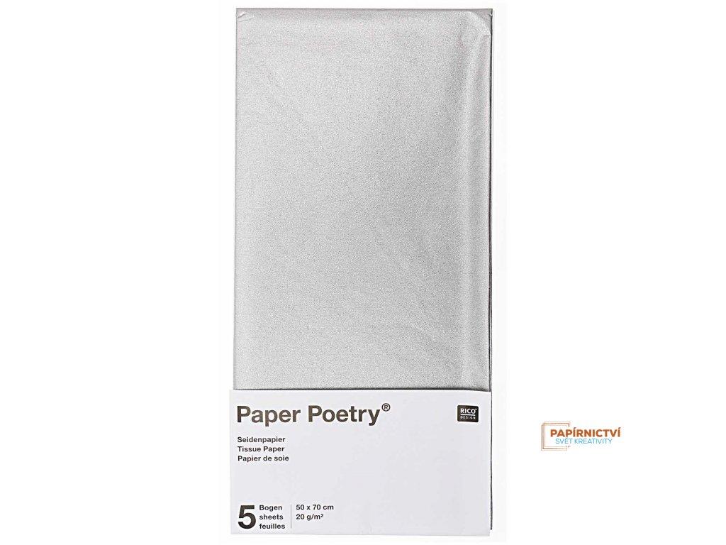 Hedvábný papír 50x70cm, 5ks, stříbrný