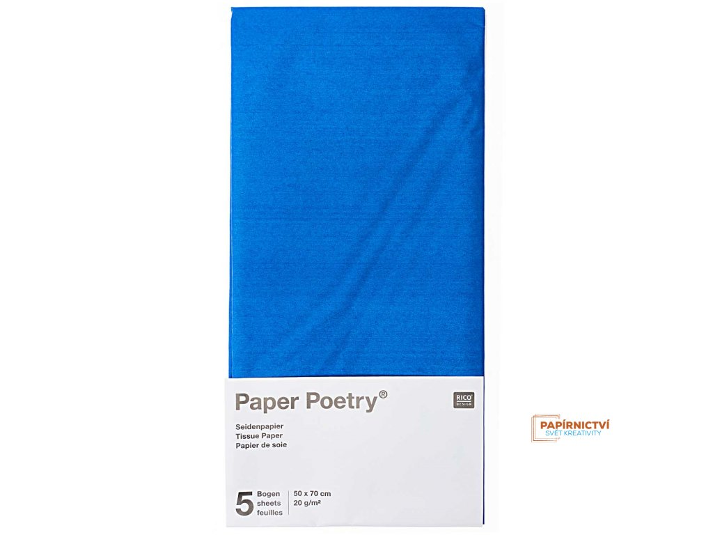 Hedvábný papír 50x70cm, 5ks, modrý