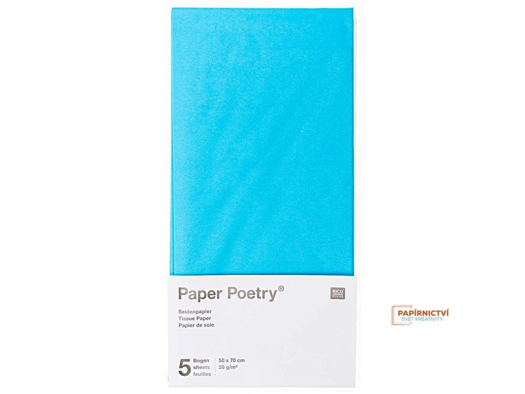 Hedvábný papír 50x70cm, 5ks, sv. modrý