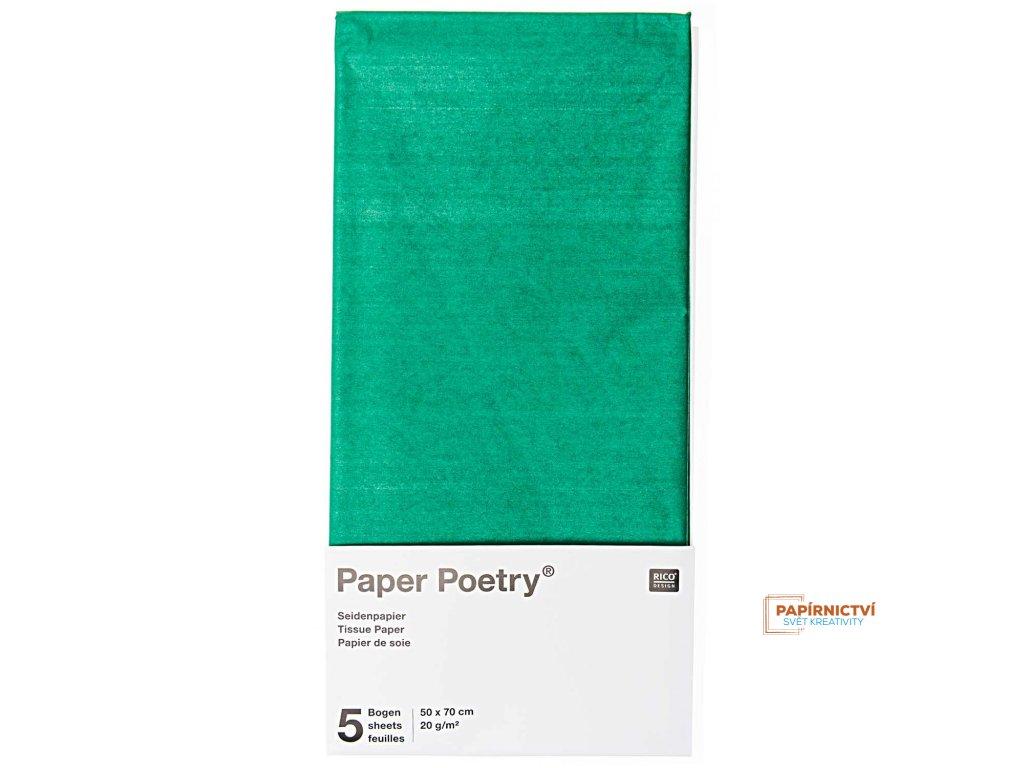 Hedvábný papír 50x70cm, 5ks,zelený