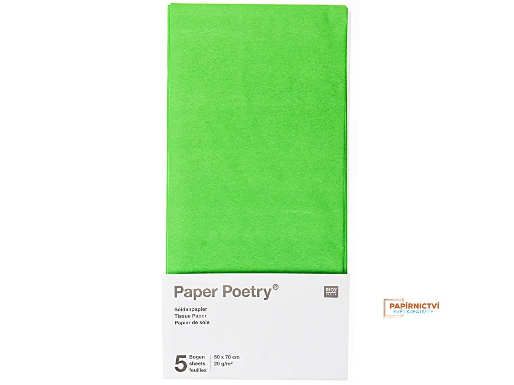 Hedvábný papír 50x70cm, 5ks, sv. zelený