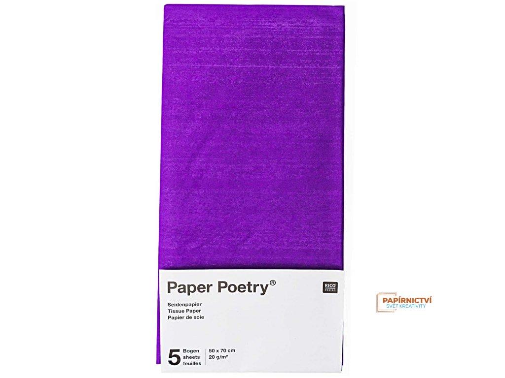 Hedvábný papír 50x70cm, 5ks, nachový