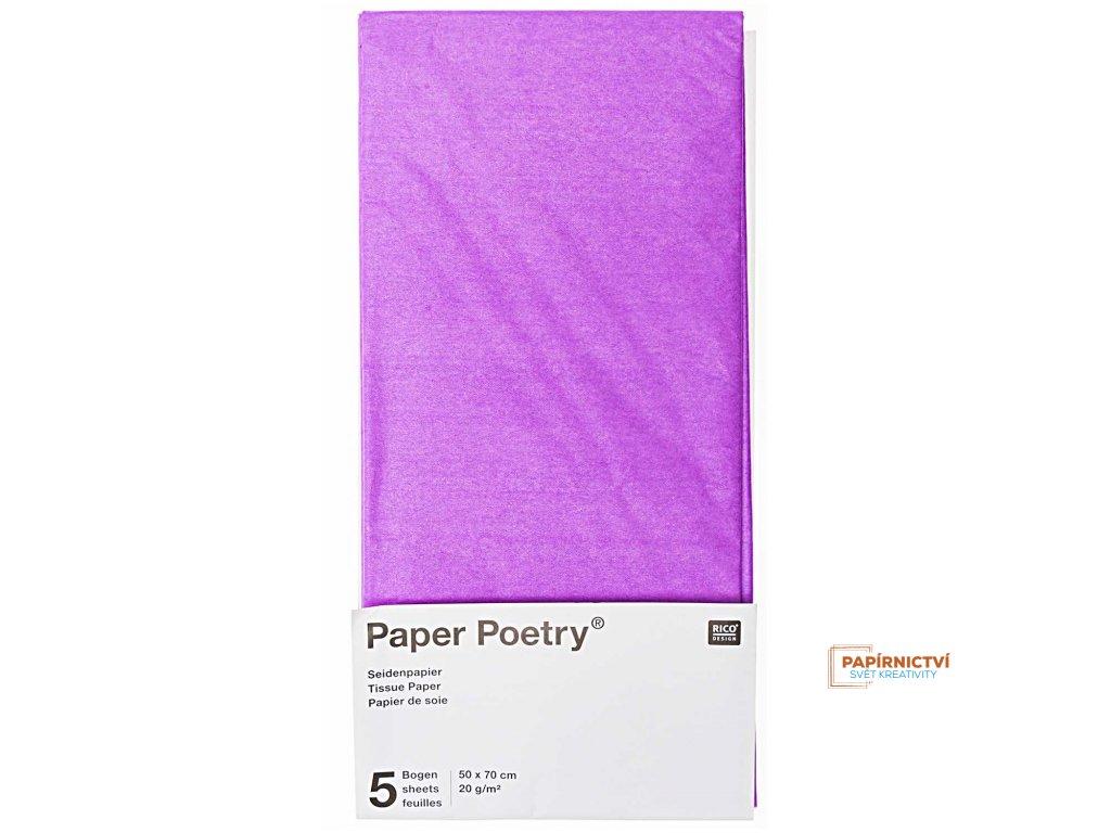 Hedvábný papír 50x70cm, 5ks, šeřík