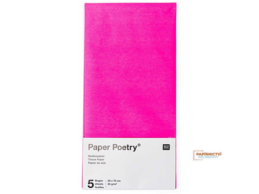 Hedvábný papír 50x70cm, 5ks, růžový