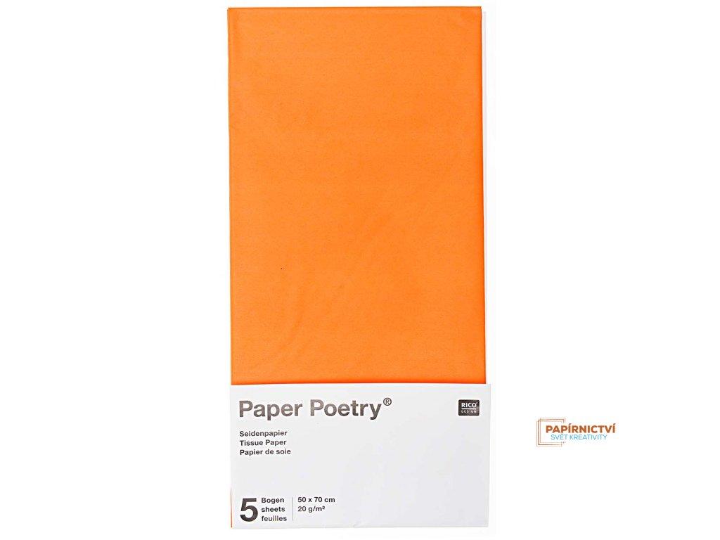Hedvábný papír 50x70cm, 5ks, oranžový