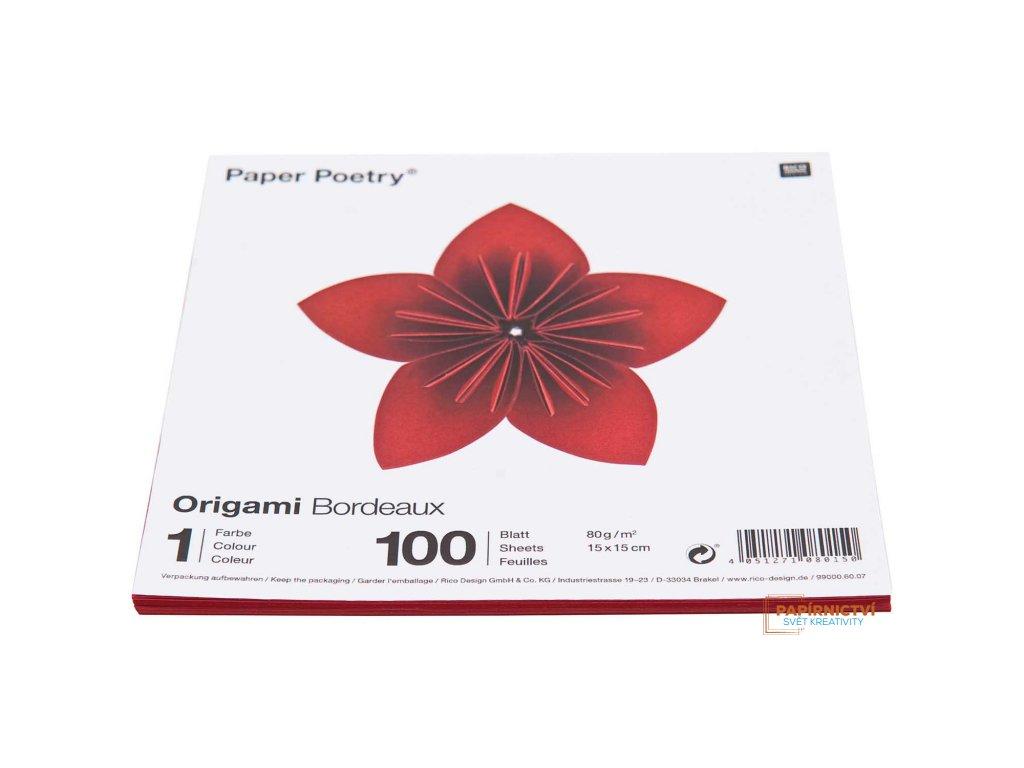Origami bordeaux,15x15cm, 100ks, 1 barva