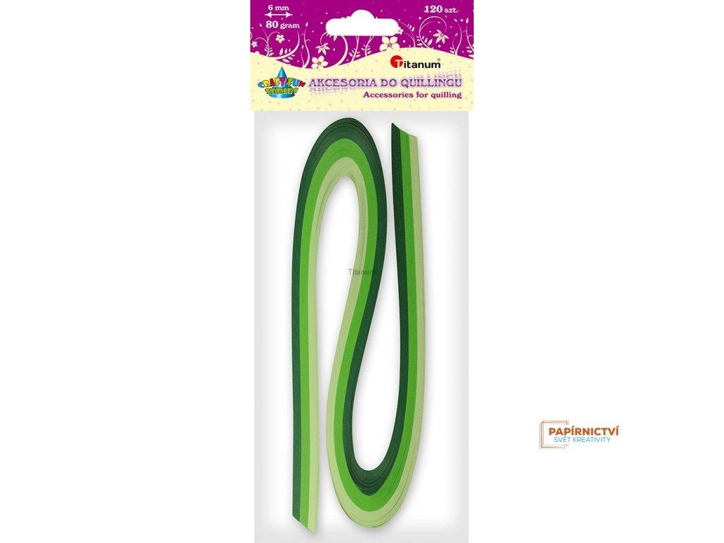 Proužky na quilling, zelené odstíny, 120ks, 6 mm