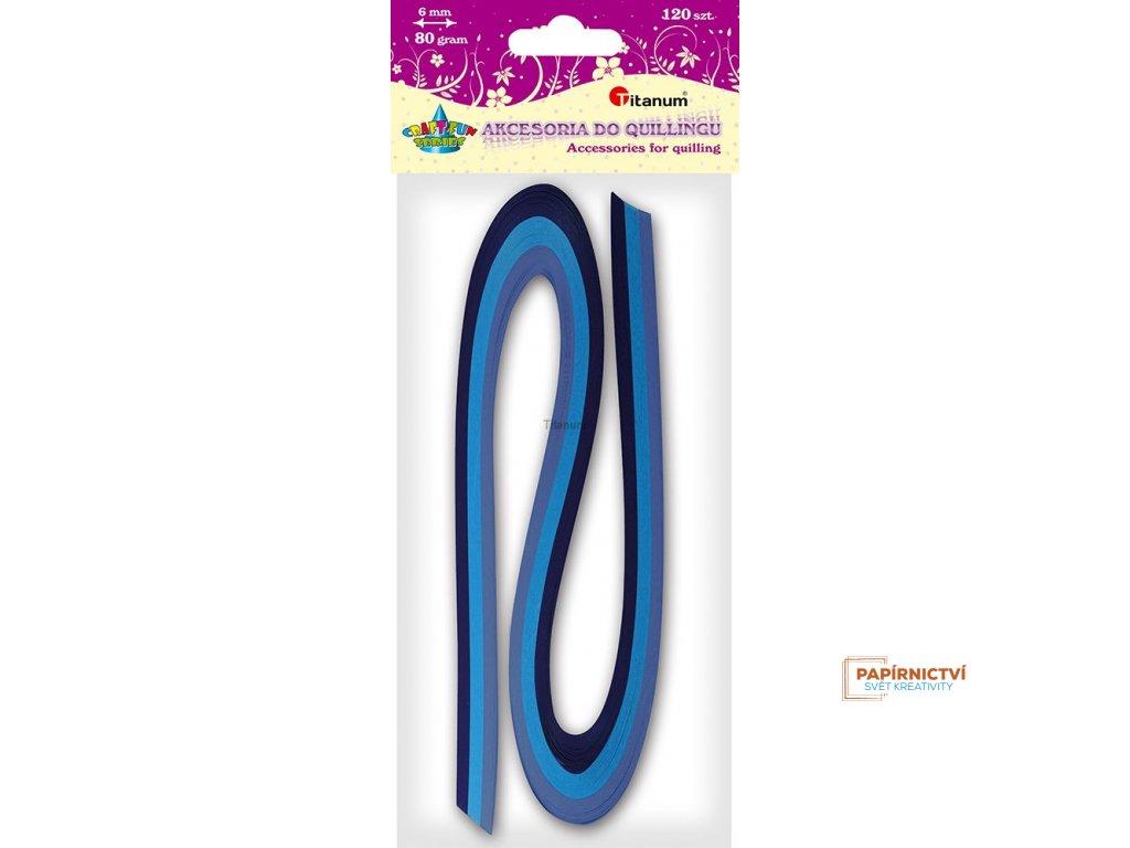 Proužky na quilling, modré odstíny barev, 120ks, 6 mm