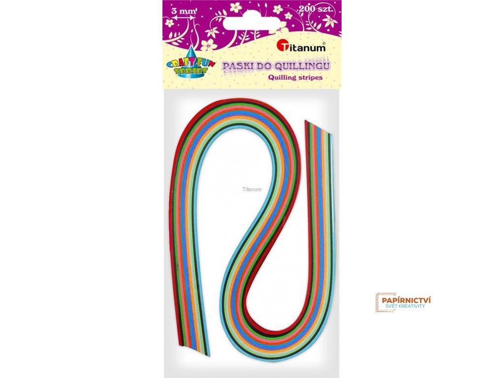 Proužky na quilling, mix barev, 200 ks, 3 mm