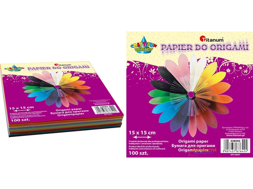 Barevné papíry na origami, 15x15cm
