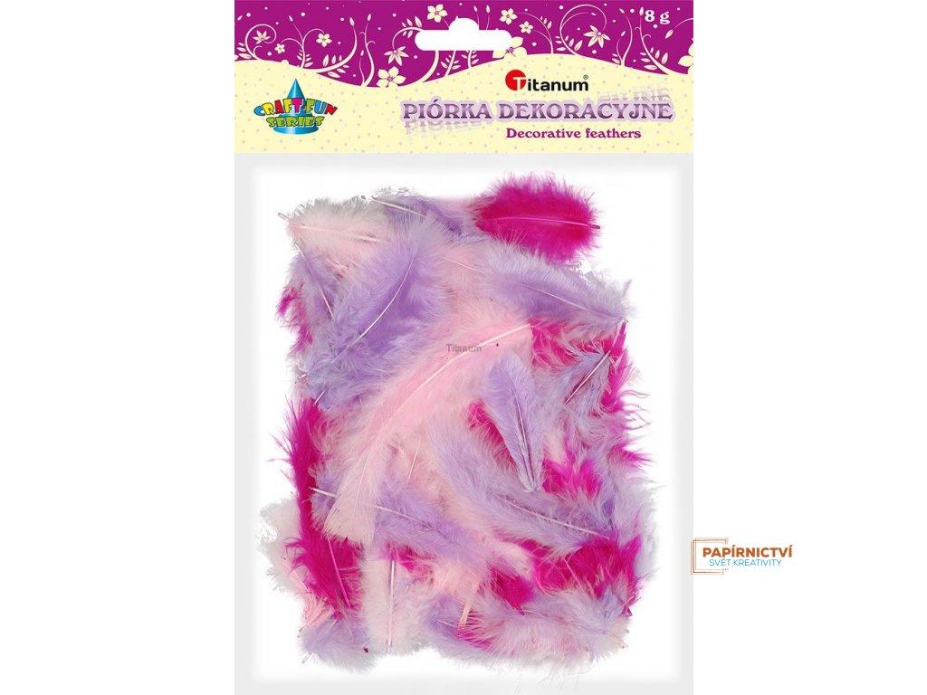 Peříčka, balení, 8g, mix růžová, fialová