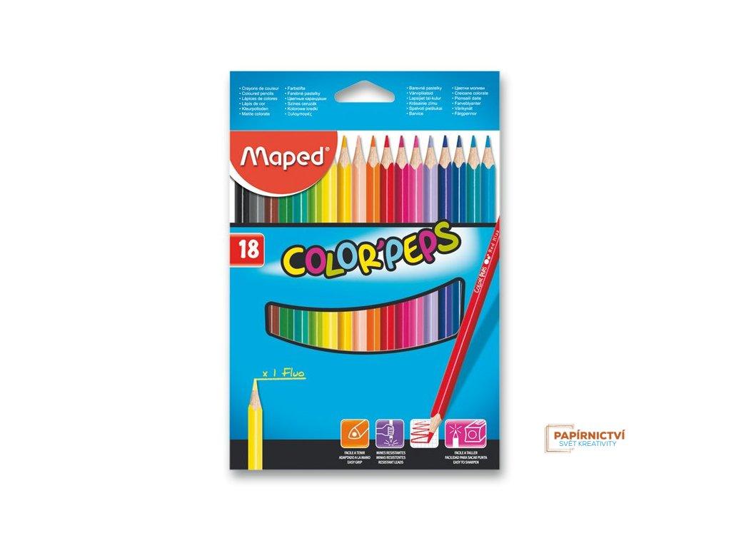 Pastelky ColorPeps MAPED trojboké 18 ks