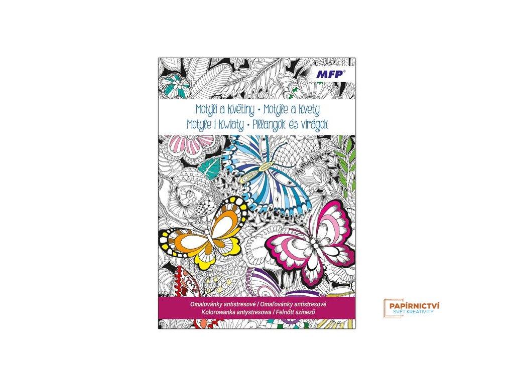 Omalovánky antistresové Motýli a Květiny