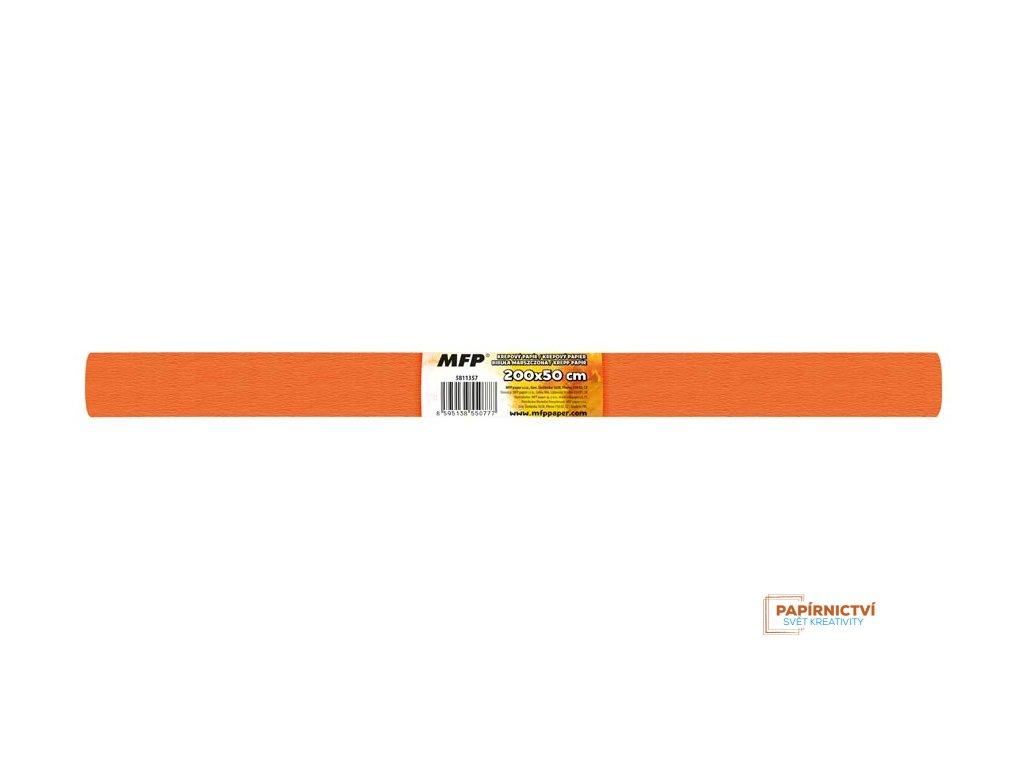 Krepový papír role 50x200cm oranžový tmavý