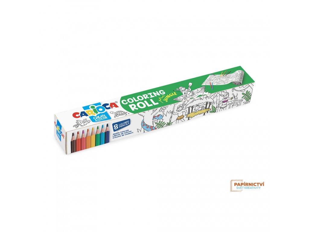 Omalovánky CARIOCA roll 200x30 Jungle + 8 pastelek
