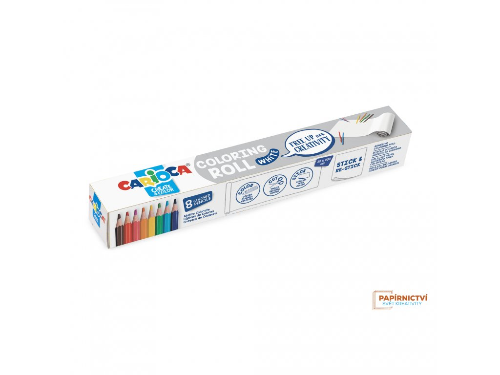 Omalovánky CARIOCA roll 200x30 White + 8 pastelek