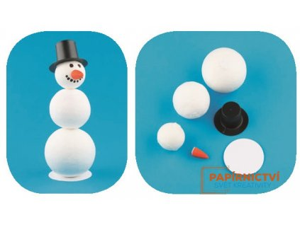 Komponenty k výrobě sněhuláka z buničiny 5 cm, 4,5 cm, 4 cm
