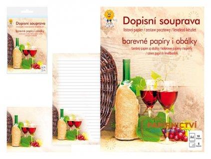 Dopisní papír barevný LUX 5+10 (Víno)