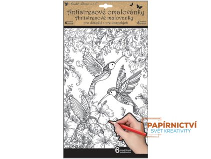 Antistresové omalovánky 6 motivů, 6 stránek - motýli a ptáci 36,5 x 21,5 cm