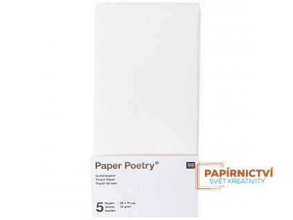 Hedvábný papír 50x70cm, 5ks, bílý