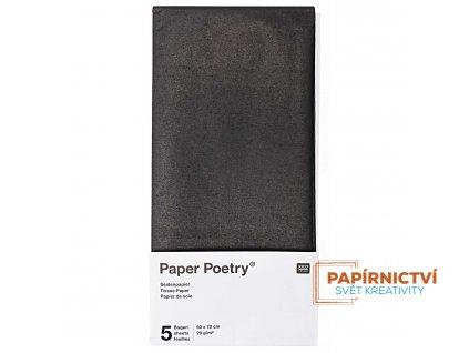 Hedvábný papír 50x70cm, 5ks, černý