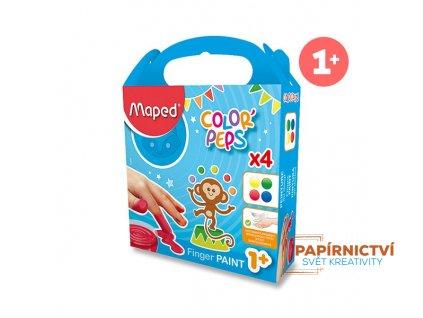 Prstové barvy MAPED v kalíšcích 80mlx4 barvy