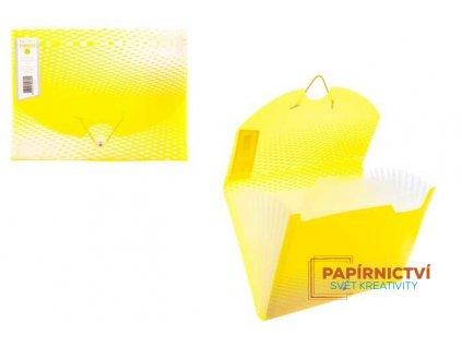 Box na dokumenty 12 rozdělovačů NEON,A4,PP,žlutý