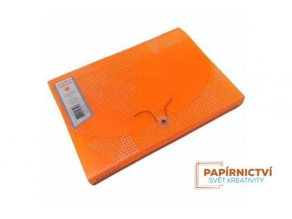 Box na dokumenty 12 rozdělovačů NEON,A4,PP,oranžový